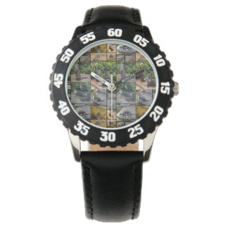 Otter Photo Collage,  Kids Numbered Leather Watch
