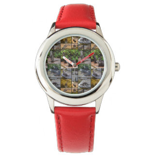 Otter Photo Collage,  Kids Red Leather Watch