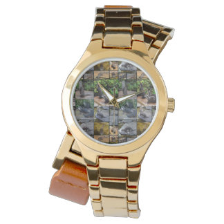 Otter Photo Collage,  Ladies Gold Wrap Watch