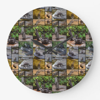 Otter Photo Collage, Large Round Wall Clock. Large Clock