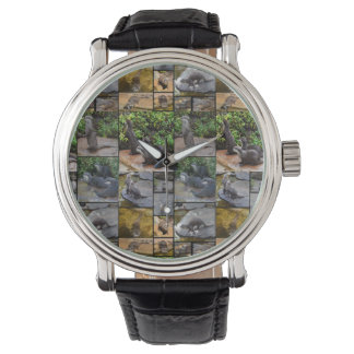 Otter Photo Collage, Mens Leather Big Face Watch