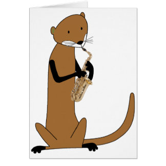 Otter Playing the Saxophone Card