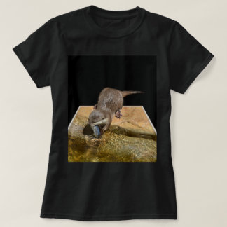 Otter Popout Art, Ladies Black T-shirt