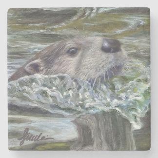 """Otter Pops!"" Stone Coaster"