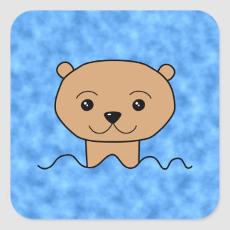 Otter Swimming. Square Sticker