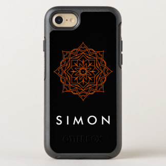 Otterbox Orange Damask pattern on black iPhone cas