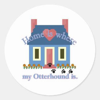 Otterhound Home Is Round Sticker