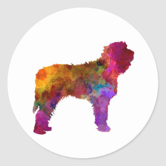Otterhound in watercolor classic round sticker