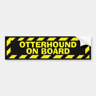 Otterhound on board yellow caution sticker bumper sticker