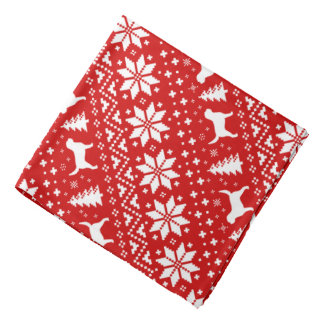 Otterhound Silhouettes Christmas Pattern Red Bandana