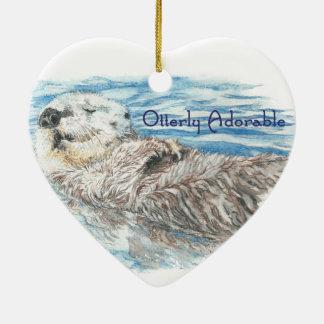 Otterly Adorable Humorous Cute  Otter Animal Ceramic Ornament
