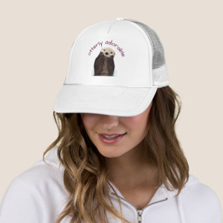 Otterly Adorable Pun with Cute Otter Photo Trucker Hat