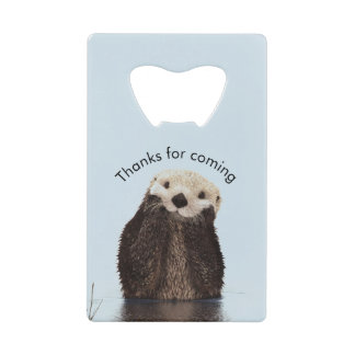 Otterly Amazing Pun with Cute Otter Photo Birthday Credit Card Bottle Opener