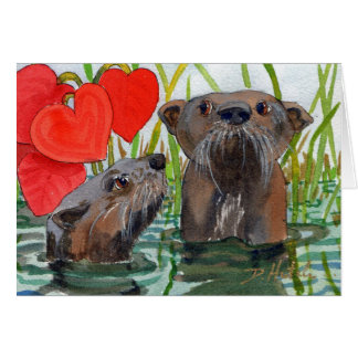 Otters. An anniversary card for otter lovers.