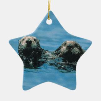 Otters Ceramic Ornament