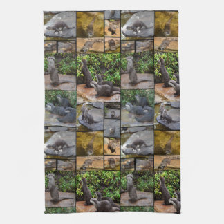 Otters In A Photo Collage, Kitchen Towel