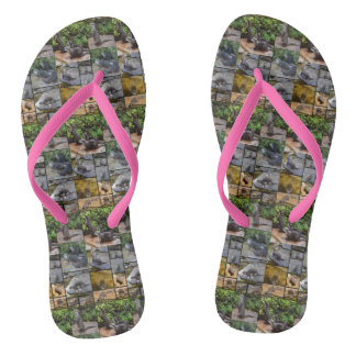 Otters In A Photo Collage, Ladies Pink Flip Flops