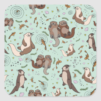 Otters in Blue Square Sticker
