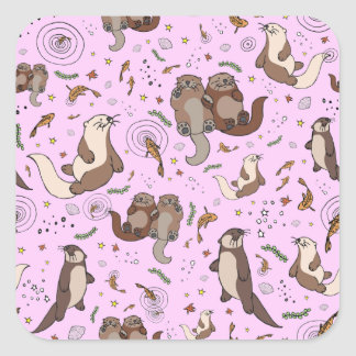 Otters in Pink Square Sticker
