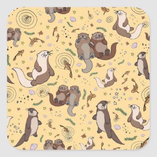 Otters in Yellow Square Sticker