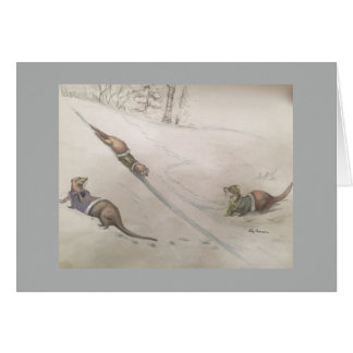 Otters playing in snow card