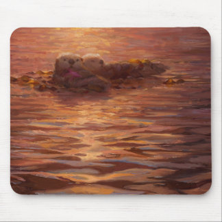 Otters Snuggling at Sunset Floating With Kelp Mouse Pad
