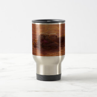 Otters Snuggling at Sunset Floating With Kelp Travel Mug