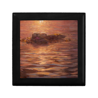 Otters Snuggling at Sunset Floating With Kelp Trinket Boxes
