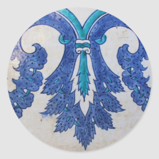 Ottoman Tile blue and white stylized design Classic Round Sticker
