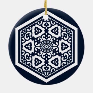 Ottoman turkish blue ware tracery design ceramic ornament