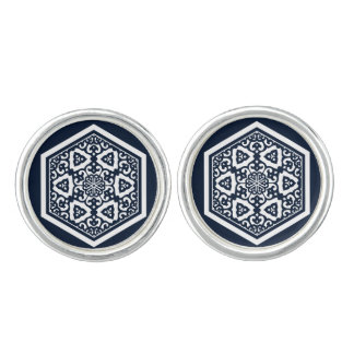 Ottoman turkish blue ware tracery design cuff links