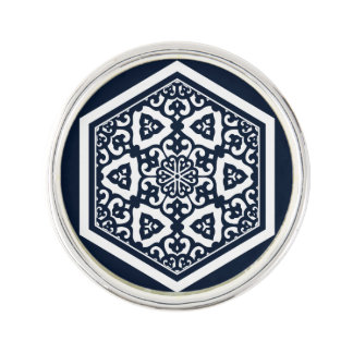 Ottoman turkish blue ware tracery design lapel pin
