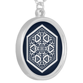 Ottoman Turkish in blue ware tracery design Silver Plated Necklace