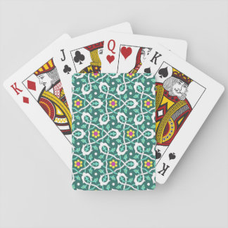 Ottoman Turkish vine design in green and white Playing Cards