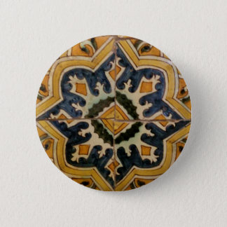 Ottoman Turkish vintage ceramic tile yellow star 2 Inch Round Button