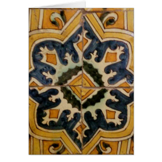 Ottoman Turkish vintage ceramic tile yellow star Card