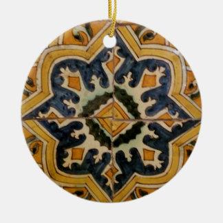 Ottoman Turkish vintage ceramic tile yellow star Ceramic Ornament