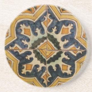 Ottoman Turkish vintage ceramic tile yellow star Coaster