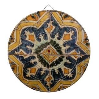 Ottoman Turkish vintage ceramic tile yellow star Dartboard