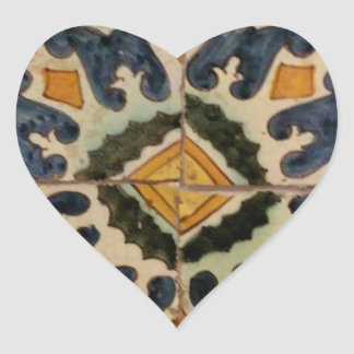 Ottoman Turkish vintage ceramic tile yellow star Heart Sticker