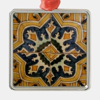 Ottoman Turkish vintage ceramic tile yellow star Metal Ornament