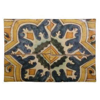Ottoman Turkish vintage ceramic tile yellow star Place Mats