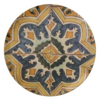 Ottoman Turkish vintage ceramic tile yellow star Plate