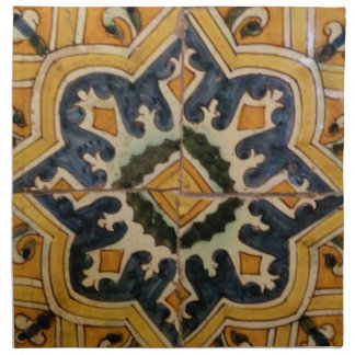 Ottoman Turkish vintage ceramic tile yellow star Printed Napkin