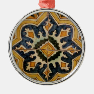 Ottoman Turkish vintage ceramic tile yellow star Silver-Colored Round Ornament