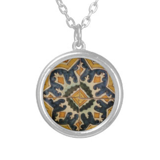 Ottoman Turkish vintage ceramic tile yellow star Silver Plated Necklace