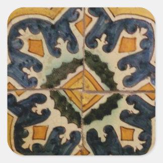 Ottoman Turkish vintage ceramic tile yellow star Square Sticker