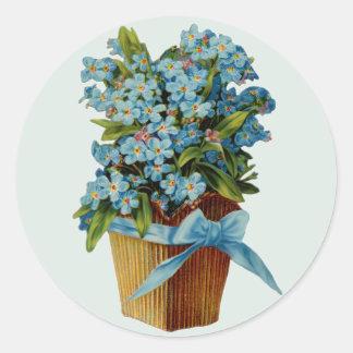 Oubliez-moi pas des fleurs sticker rond