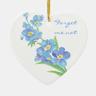 Oubliez-moi pas, fleur originale d'aquarelle ornement cœur en céramique