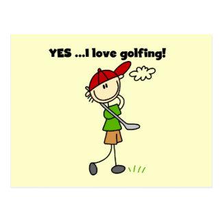 OUI j aime des T-shirts et des cadeaux de golf Cartes Postales